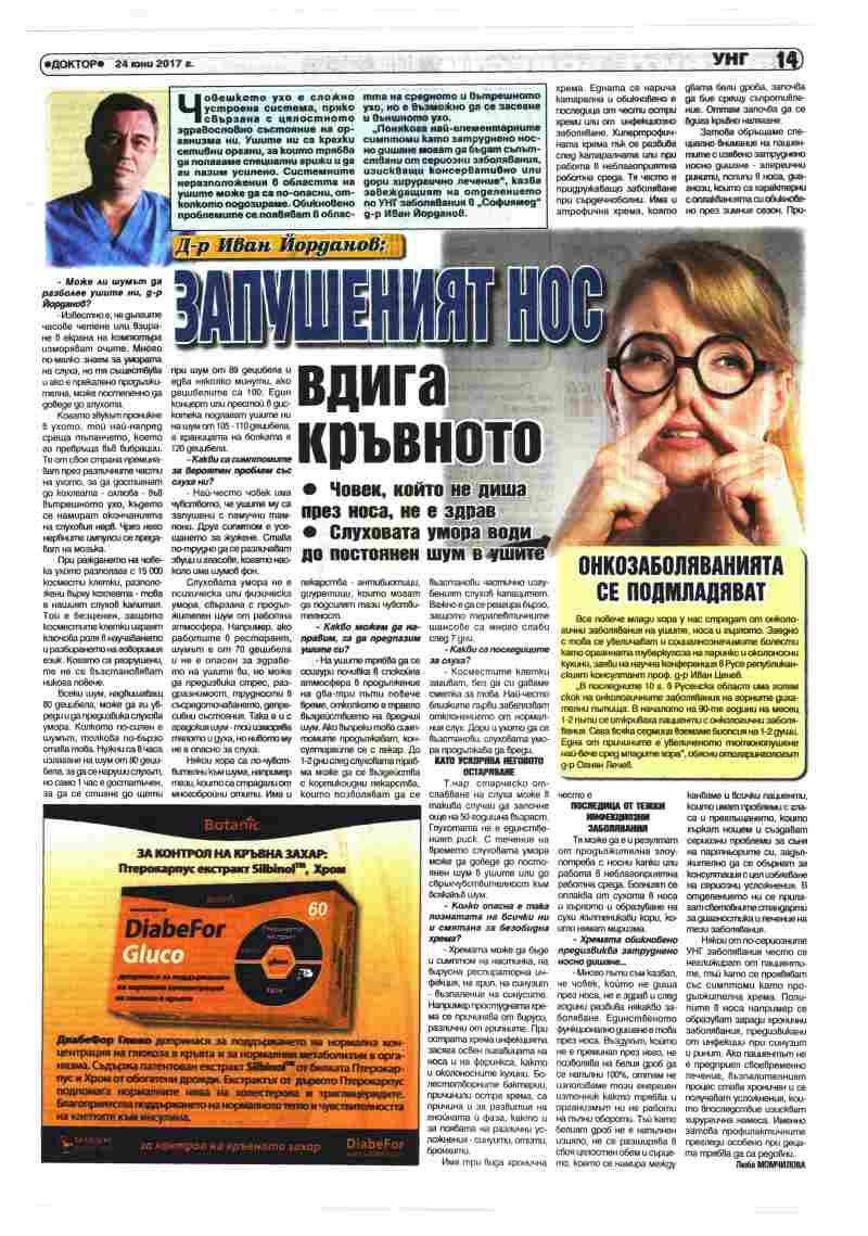 Д-р Иван Йорданов: Запушеният нос вдига кръвното