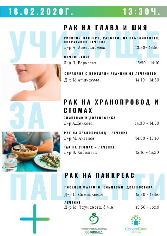 Училище за онко болни, тема 3: Рак на глава и шия, хранопровод и стомах, панкреас